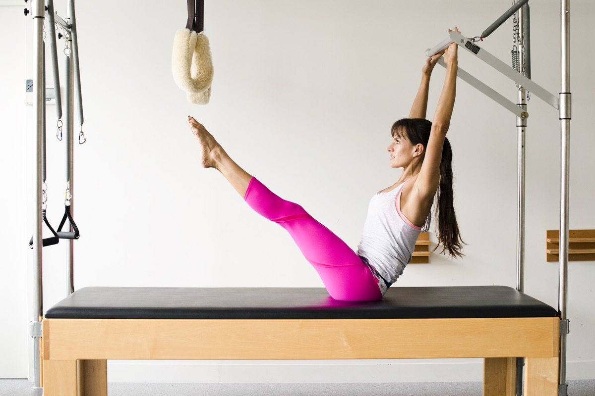 Single Leg Series on the Cadillac from APPI Equipment Pilates